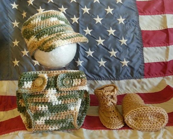 Crocheted Handmade Military 3 Piece Baby Sets