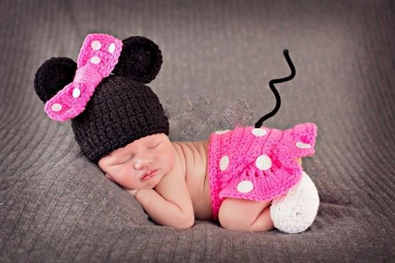 Crocheted Handmade Mickey or Minnie Mouse 3 Piece Baby Sets