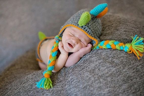 Crocheted Handmade Dinosaur 2 Piece Set For Baby