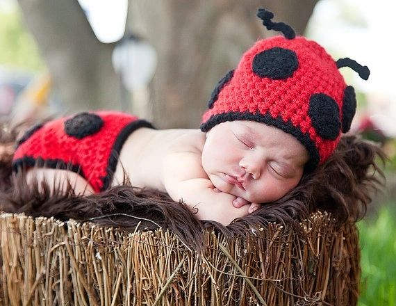 Crocheted Handmade Lady Bug 2 Piece Set for Baby