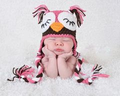 Crocheted handmade Owl 2 piece set for baby
