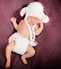 Crocheted handmade Lamb 2 piece set for baby