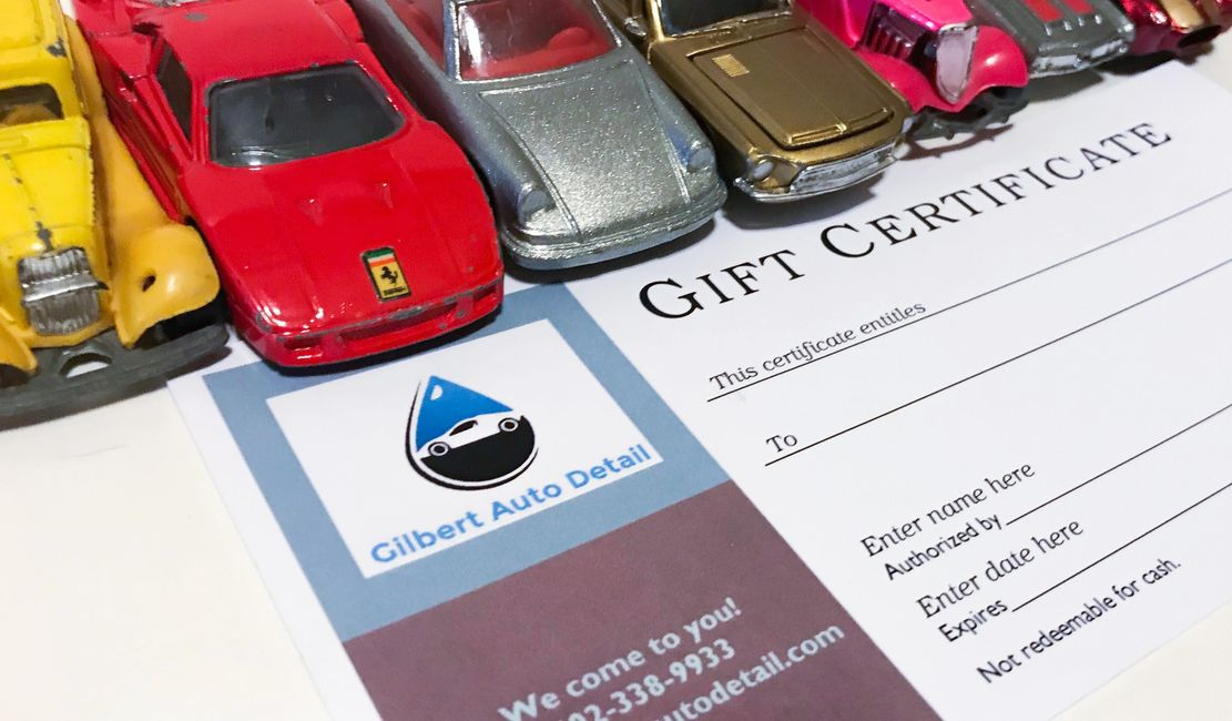 Auto Detailing Gift Cards Paint Correction Hand Wash Detail Certificate