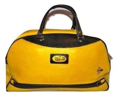 late 70's true vintage leather dunlop holdall carry bag