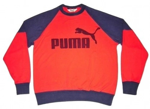 1980's true vintage puma sweater red blue size medium
