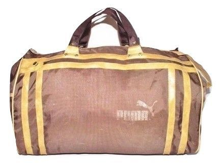 1980's true vintage puma sports holdall brown canvas