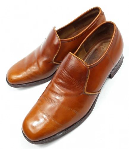 1984 mens true vintage barker leather slip on shoes size uk 8.5