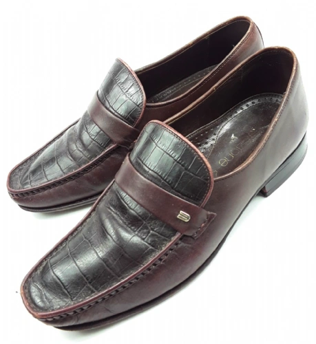 true vintage mens brown leather slip on shoes