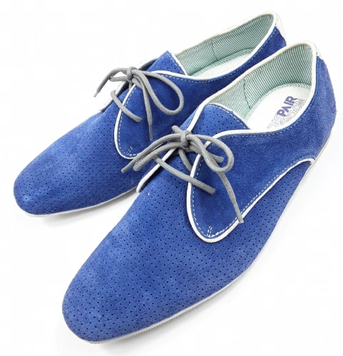 mens retro blue suede shoes, london dispair size uk 8.5