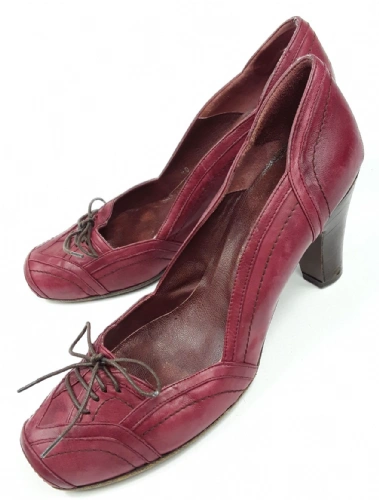 womens vintage red leather office shoes jigsaw size 40 uk 6.5