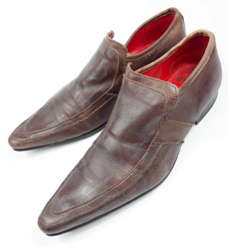mens retro pointed leather shoes size uk 8