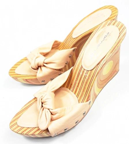 oldskool retro wooden wedge heels quality leather shoes uk 7