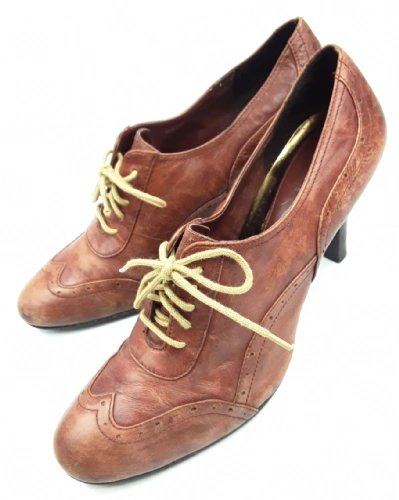 vintage brown leather pixie boots ankle shoes size uk 7