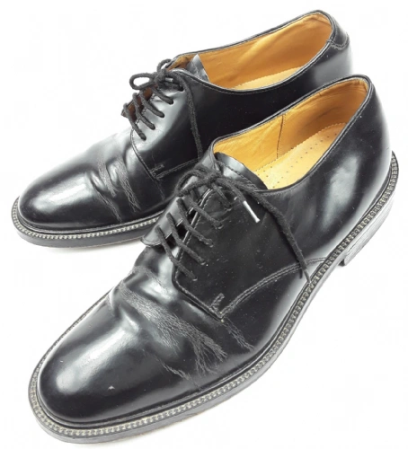 mens true vintage black leather office shoes size 9.5