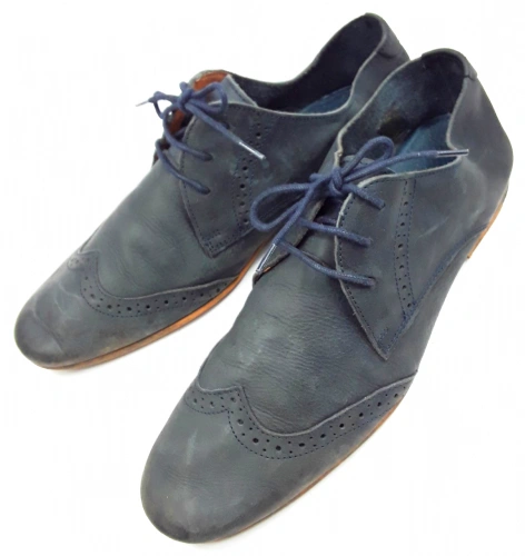 2012 retro mens quality blue leather shoes size uk 8