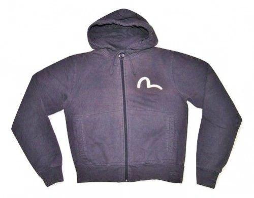 womens vintage blue evisu hoodie size large 14