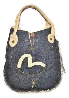 retro evisu denim mini shopper bag