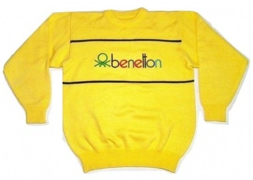 classic oldskool yellow benetton sweater size M-L