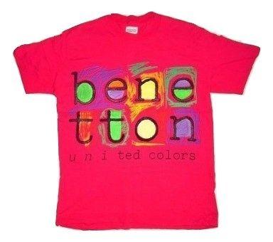 vintage benetton pink crew neck tshirt M-L