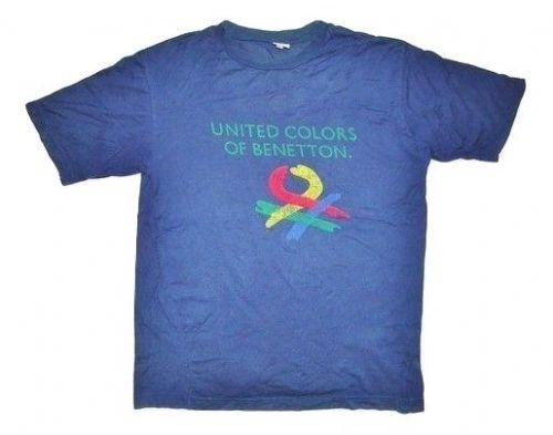 original 80's benetton logo print tshirt size medium