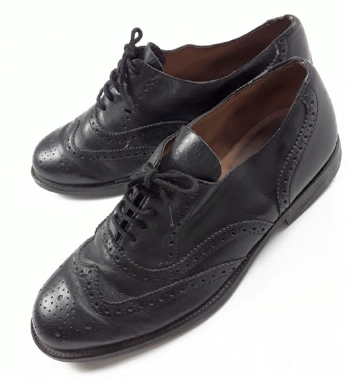 mens 80's vintage black leather brouges size 7