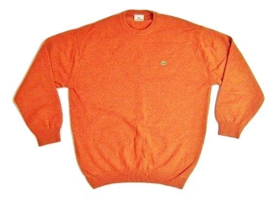 true vintage lacoste jumper orange quality wool size UK L