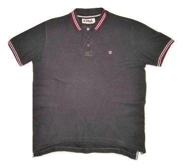 mens dark grey fila polo tshirt size large