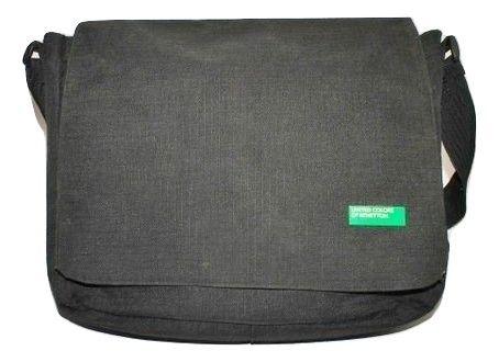 oldskool vintage benetton messenger bag black
