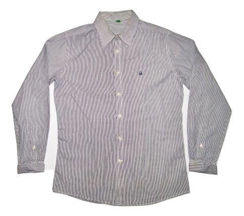 True vintage benetton shirt blue pin stripe size medium