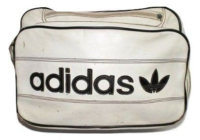 vintage adidas sports holdall white leather