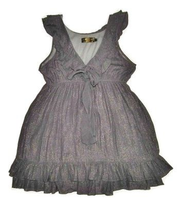 retro frill pussycat grey dress top size M-L