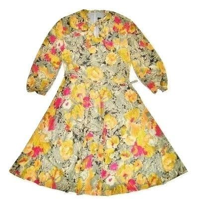 1980's original floral vintage flare dress size 16