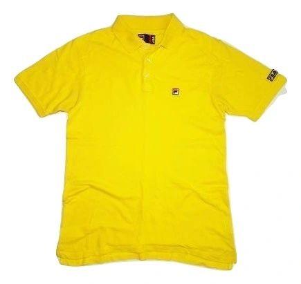 oldskool fila polo tshirt yellow size large