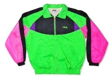 Very rare true vintage early 1990's fila tracksuit top shell suit size uk L-XL