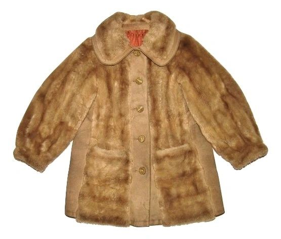 womans true vintage suede and fur coat size M-L