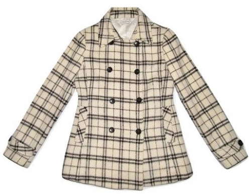 womens vintage check wool double breast coat size S-M