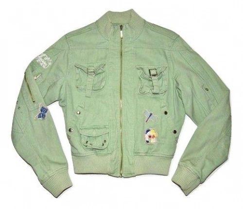 womens vintage bomber jacket geen denim size medium.