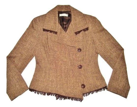 womens retro wrap over tweed jacket size medium