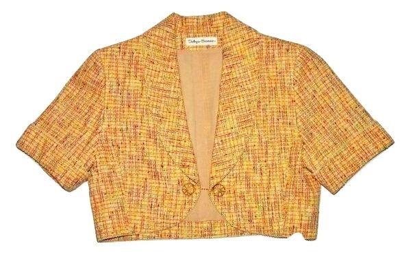 womens true vintage cropped tweed bolero size 10-12