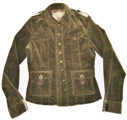 womens true vintage green cord miltary jacket