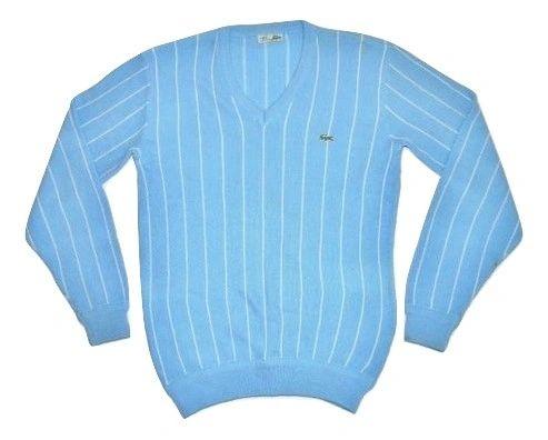 80's original lacoste blue stripe jumper size L-XL