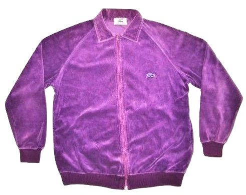womens 80's chemise lacoste velour tracksuit top UK 16