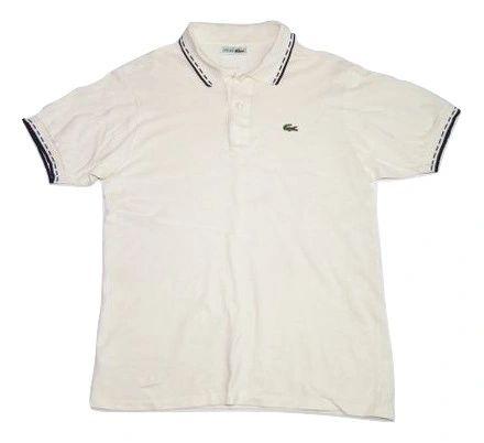 classic vintage lacoste polo shirt cream size large