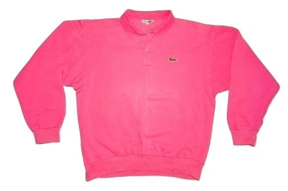 original 80's pink chemise lacoste long sleeve polo shirt size XL