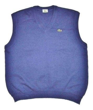 mens vintage lacoste wool tank top size M-L