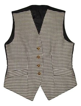 vintage black and white checked waist gillet size M