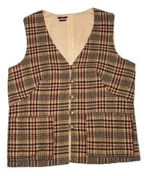 true vintage womens waist gillet tweed check size M