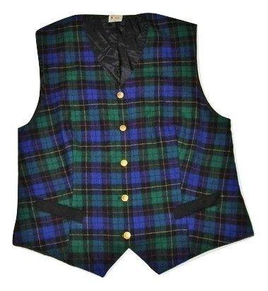 true vintage blue tartan check waist gillet size M