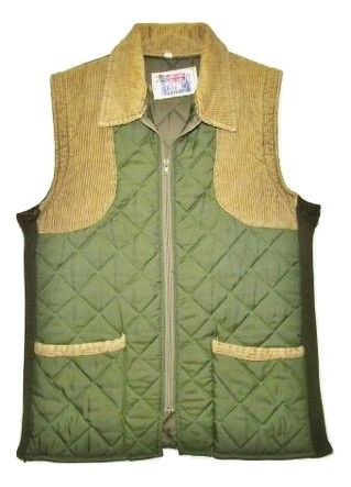 vintage oldskool green shooting gillet, size uk S-M original 1992.