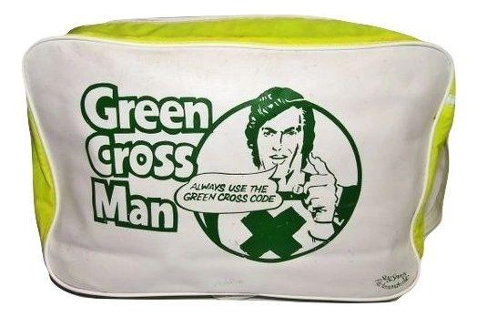 1978 very rare true vintage green cross code satchel
